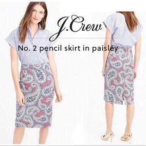 NWT J. Crew No. 2 Pencil Skirt Paisley Size 00